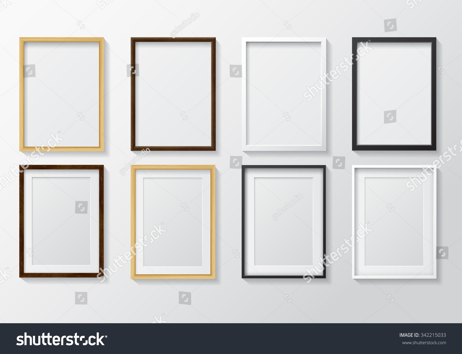 Set of Realistic Light Wood Blank Picture Frames and Dark Wood Blank Picture Frames hanging on a White Wall from the FrontWhite and Black Blank Picture FramesDesign Template for Mock Up