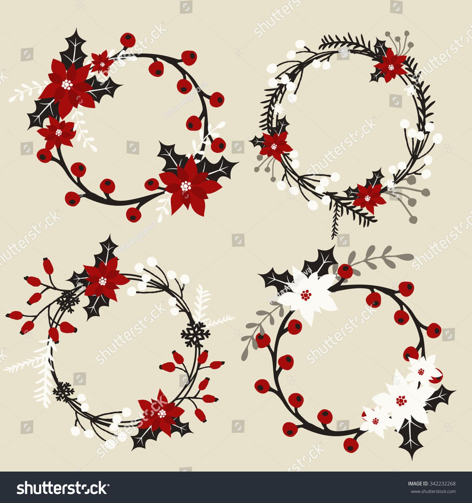 set christmas wreaths poinsettia holly berries stock vector