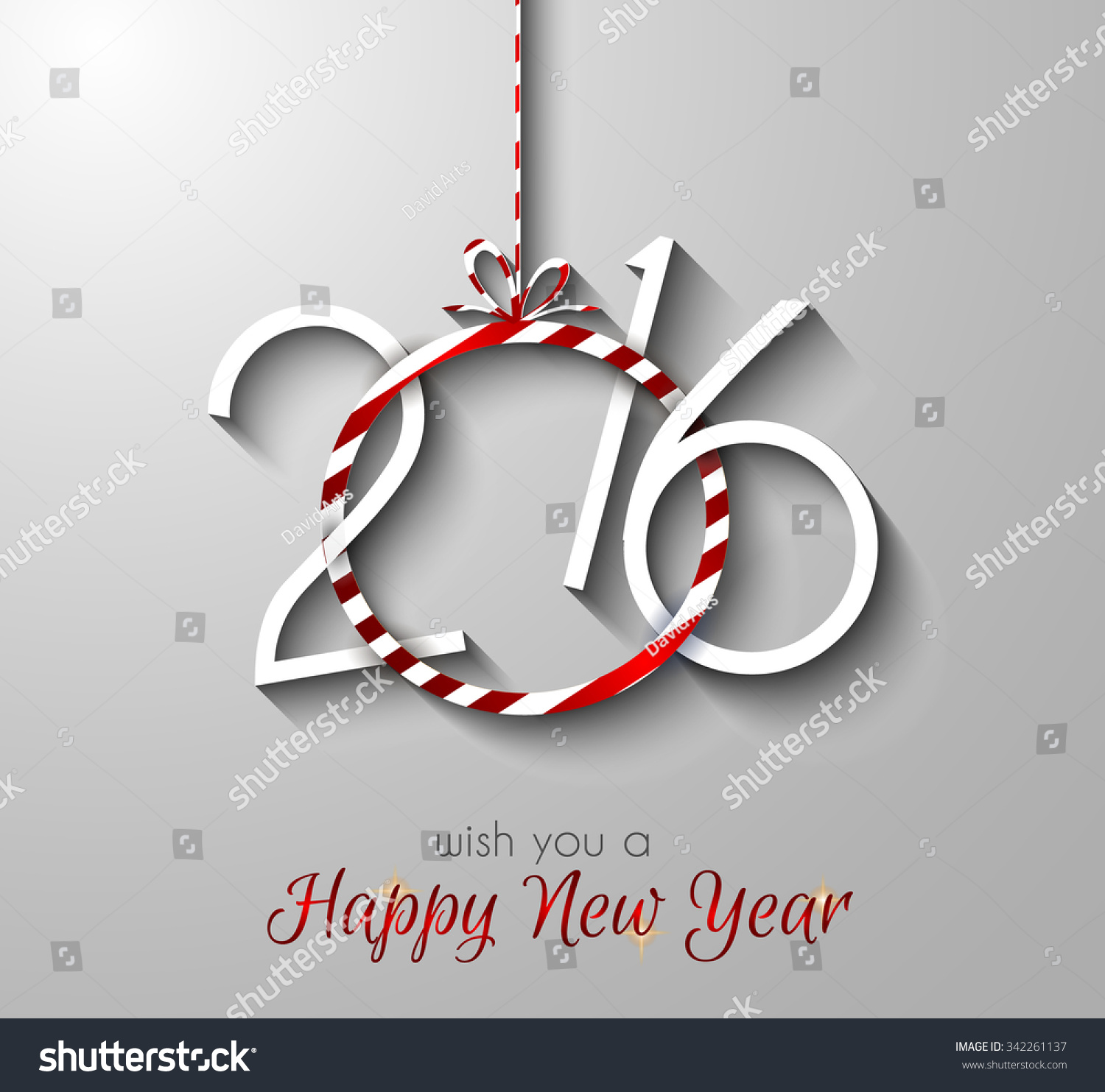 2016 Happy New Year Merry Christmas Stock Vector 342261137 ...