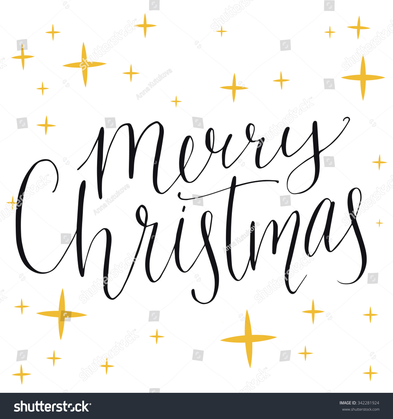 Merry christmas text modern calligraphy type made with