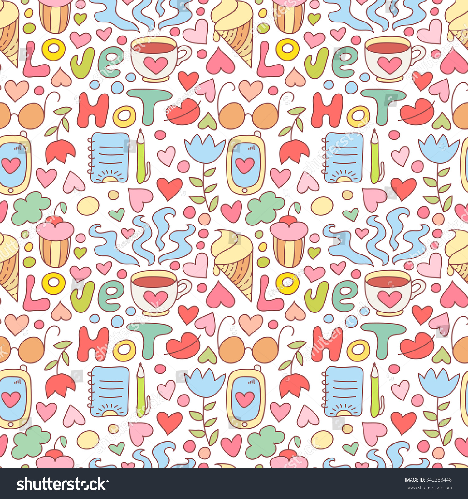 seamless doodle coffee pattern - photo #24
