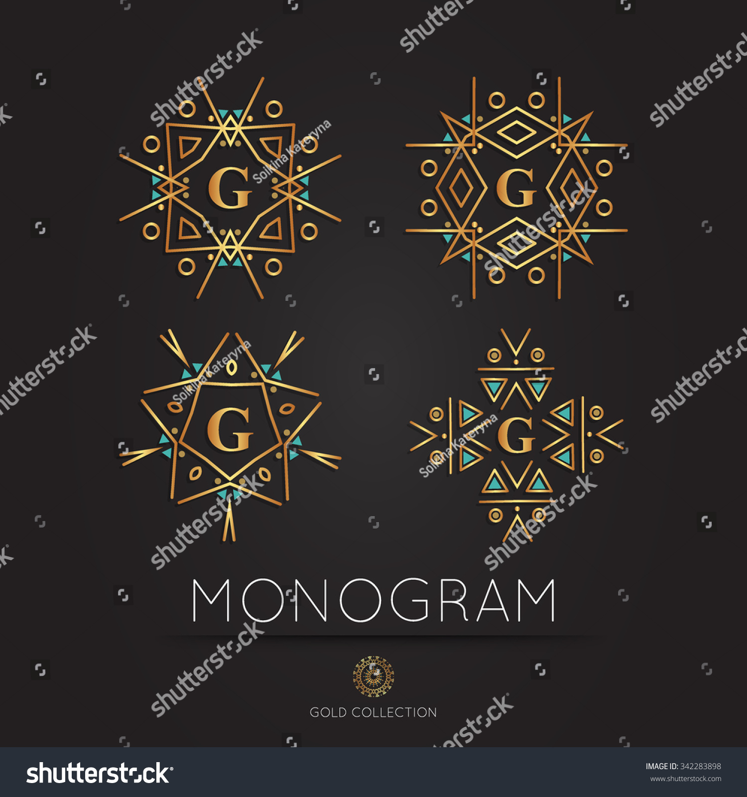 Royal Golden Linear Modern Monogram Logo Stock Vector 342283898 ...