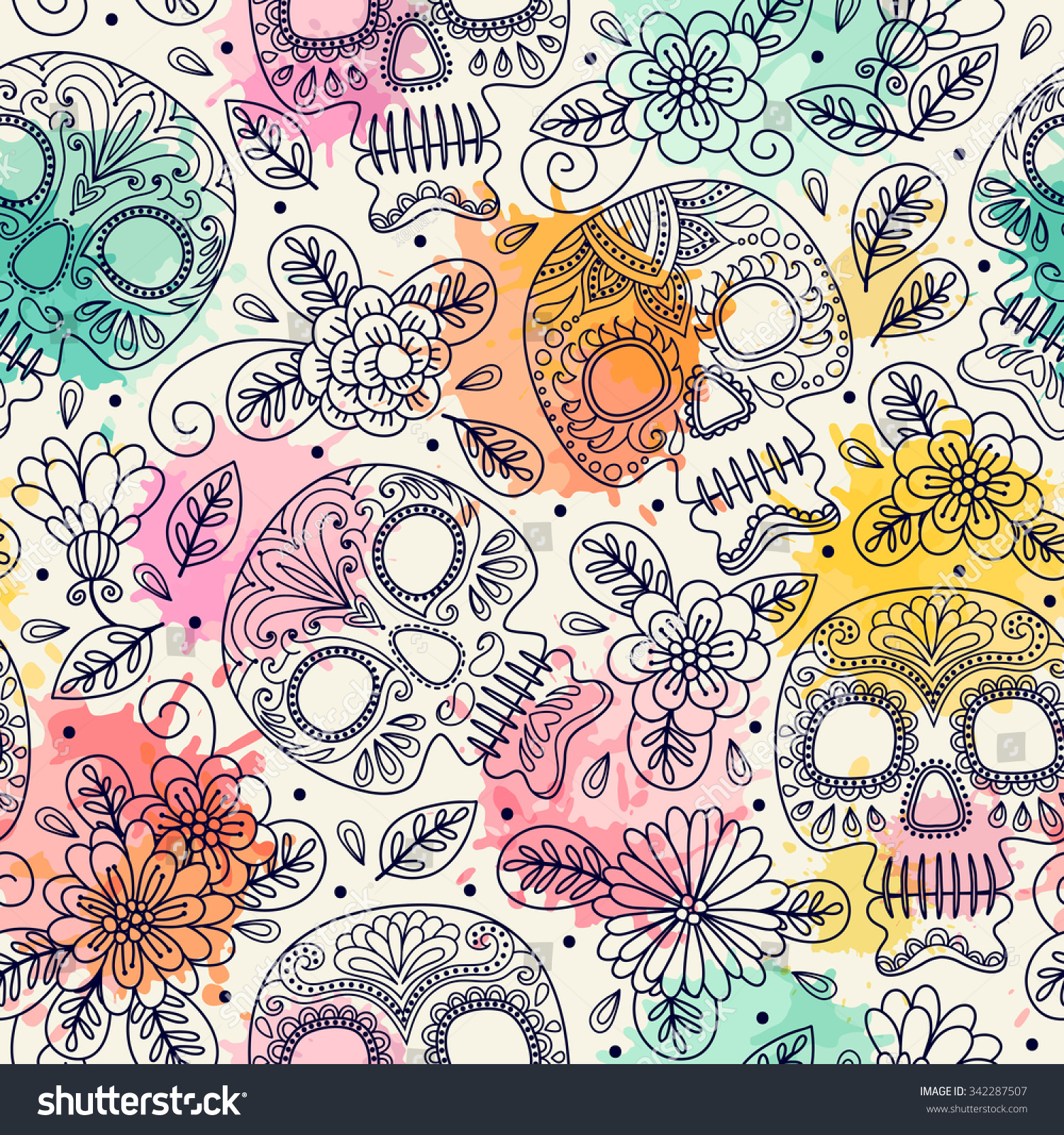 Skull and Flowers Seamless Background Mexican day of the dead Freehand drawing