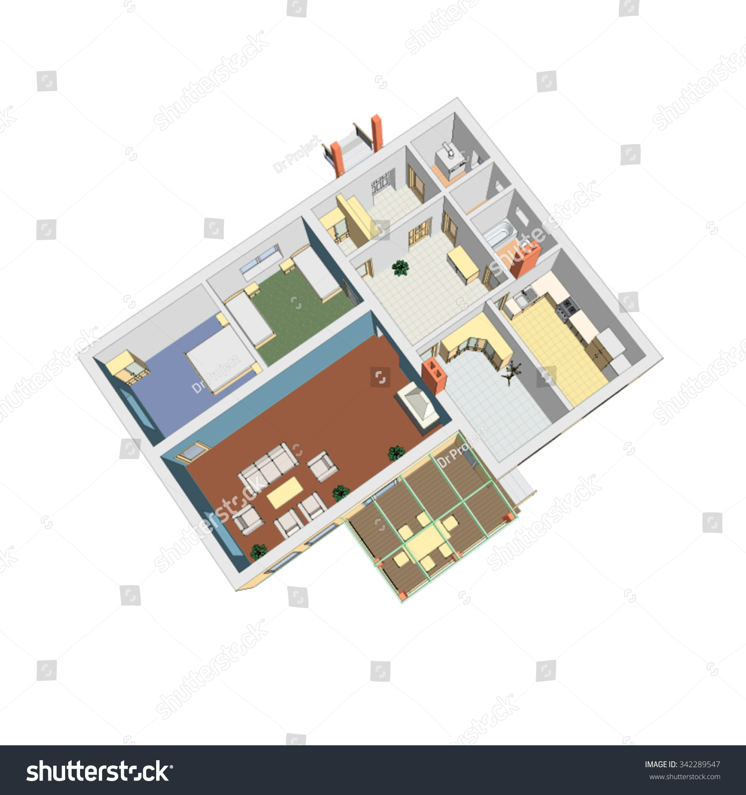 3d floor plan vector illustration apartment stock vector for Apartment design vector