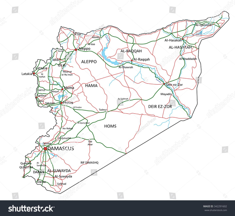 Syria road highway map vector illustration stock vector 342291602 syria road and highway map vector illustration biocorpaavc