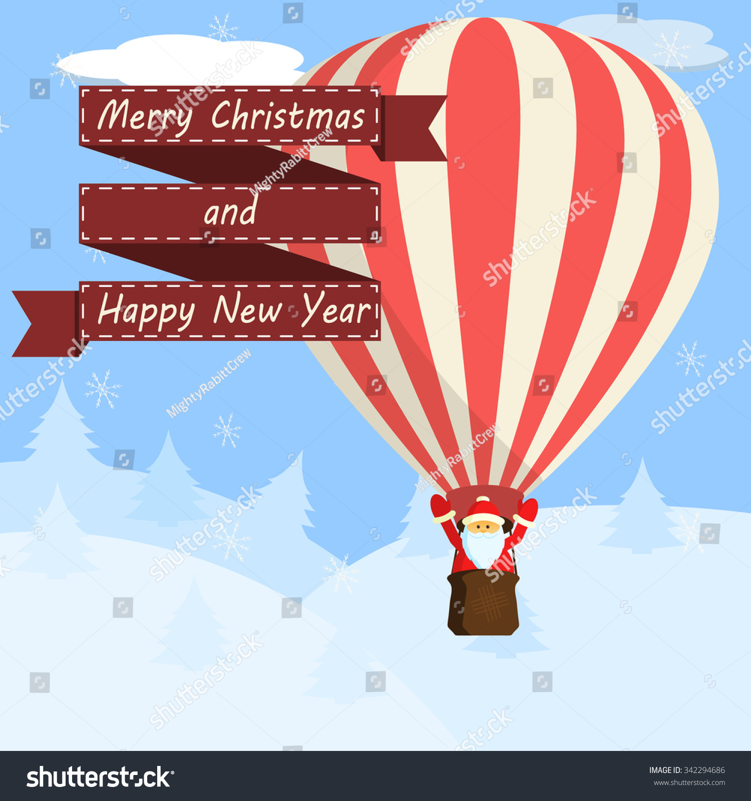 Vintage christmas greeting card santa claus stock vector royalty vintage christmas greeting card with santa claus flying in a hot air balloon over the winter m4hsunfo