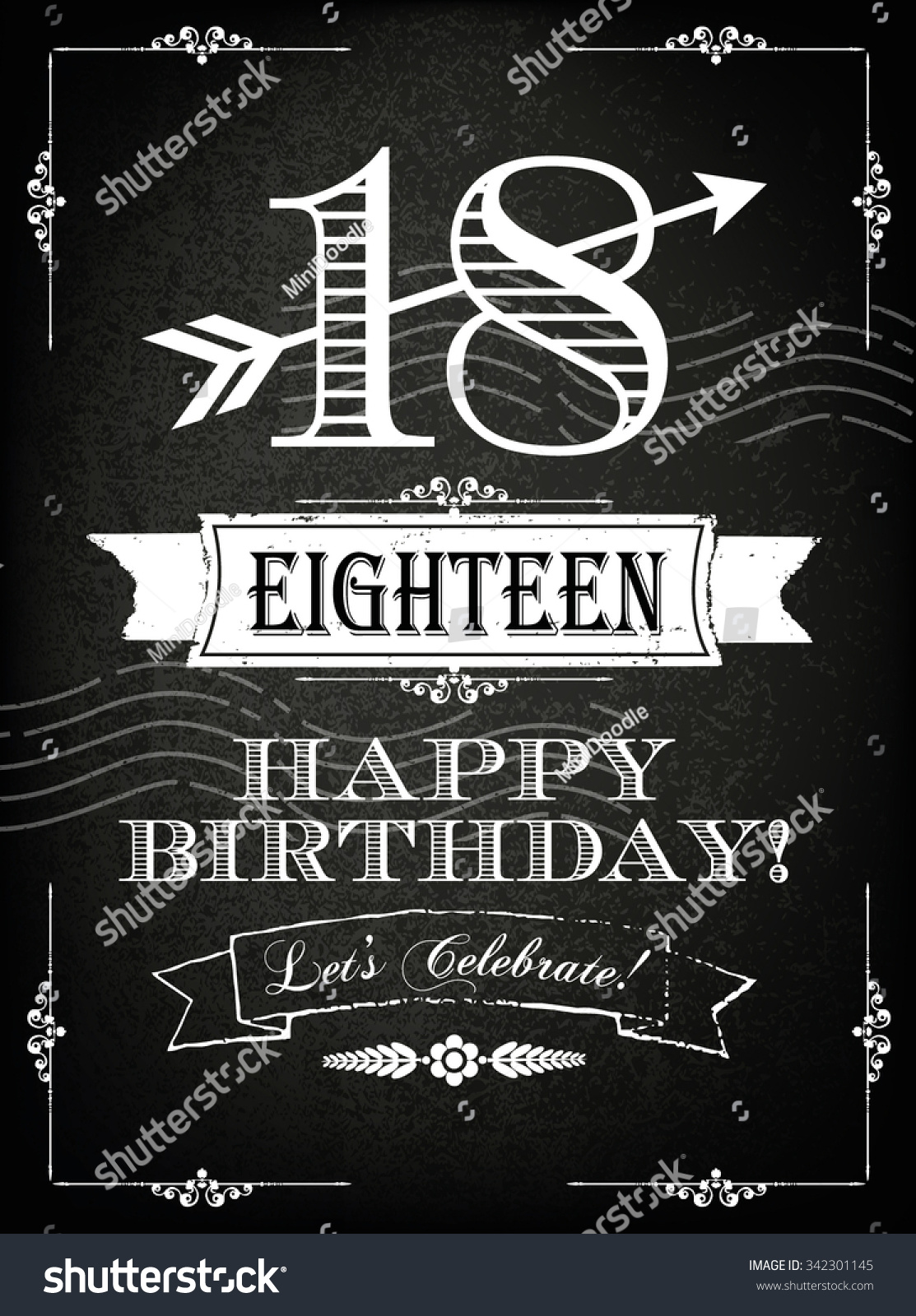 Vintage 18 Years Happy Birthday Card Stock Vector 2018 342301145