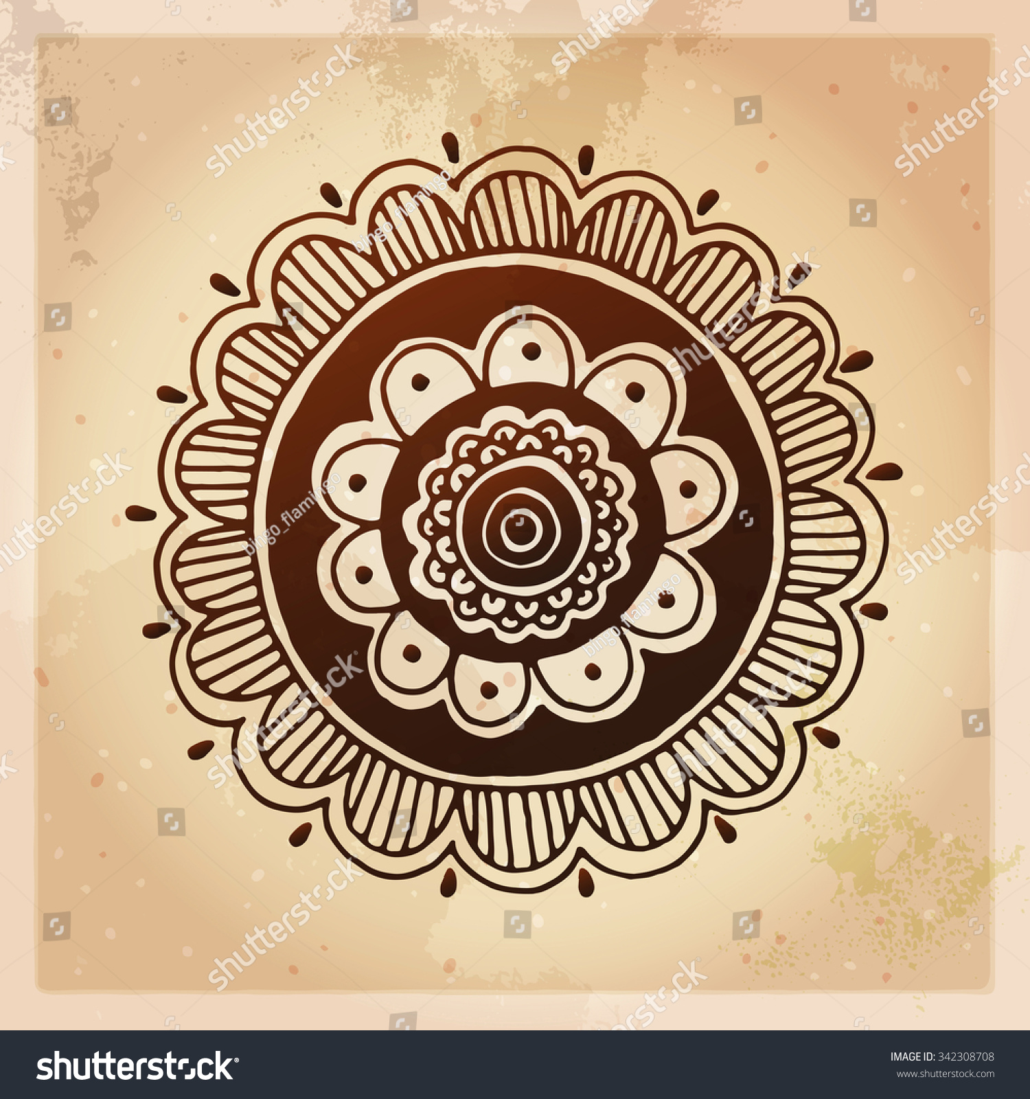 Indian ethnic henna tattoo pattern orient stock vector for Real henna tattoo