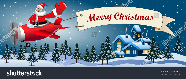 santa claus cartoon flying on airplane stock vector royalty free