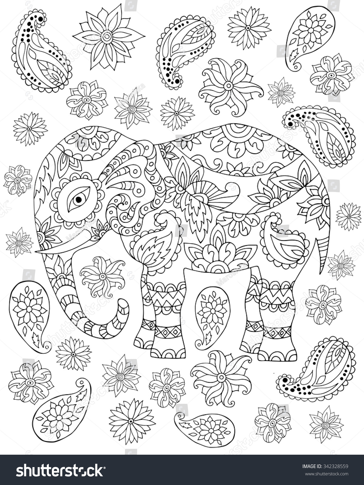 Royalty-free Hand drawn zentangle elephant for adult… #342328559 ...