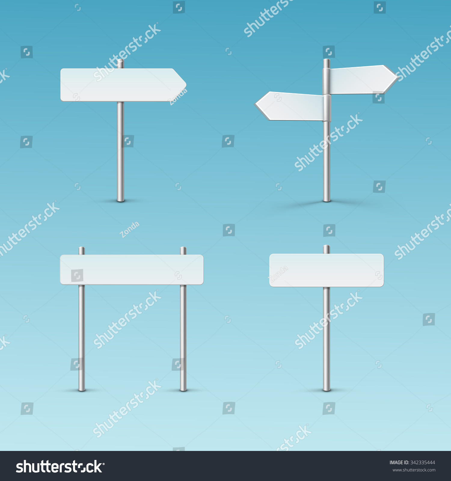 vector blank direction signpost sign arrow icon isolated on