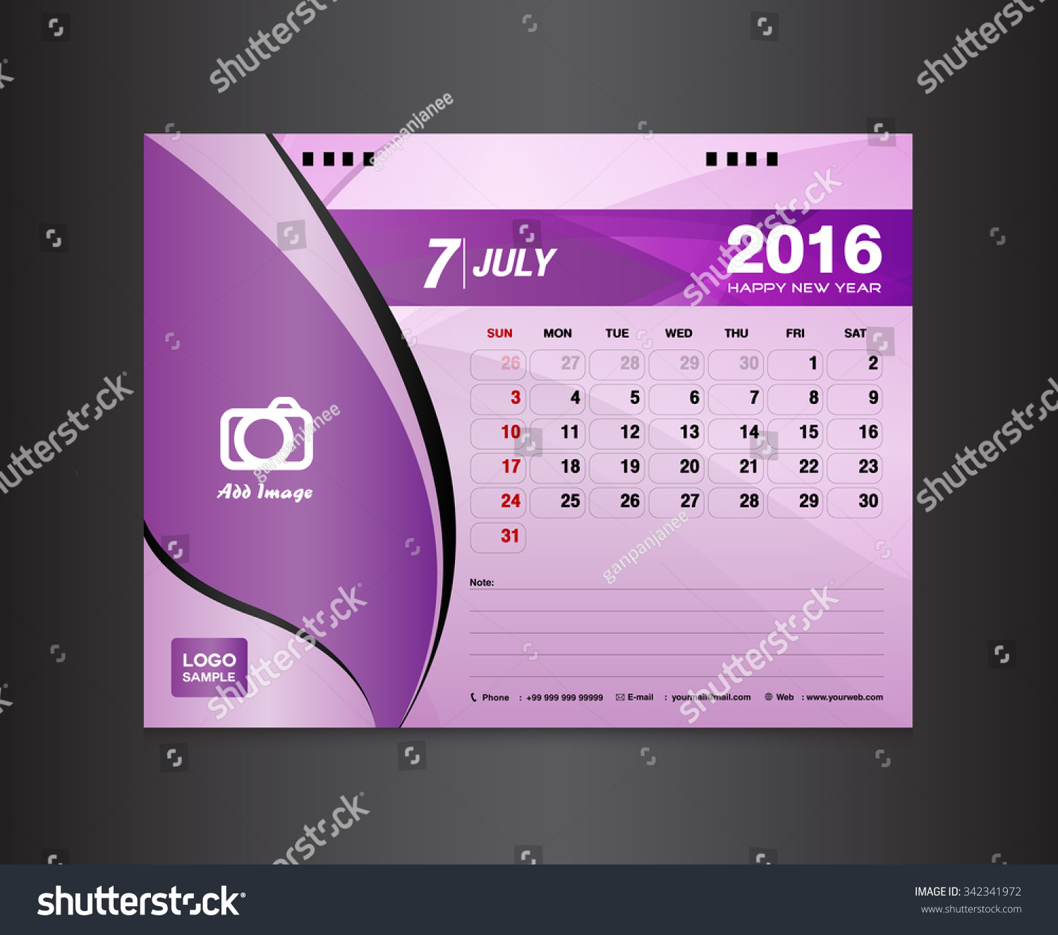 Desk Calendar Template Vector Design Template Stock Vector (Royalty ...