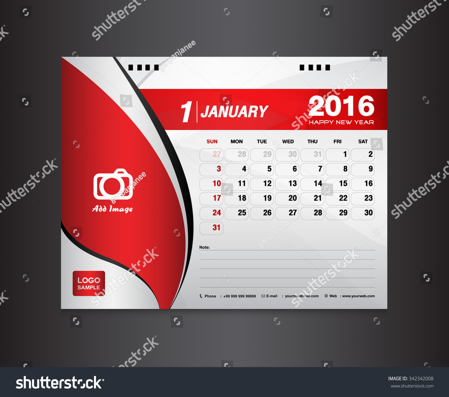 Desk Calendar Template Vector Design Template Stock Vector Royalty