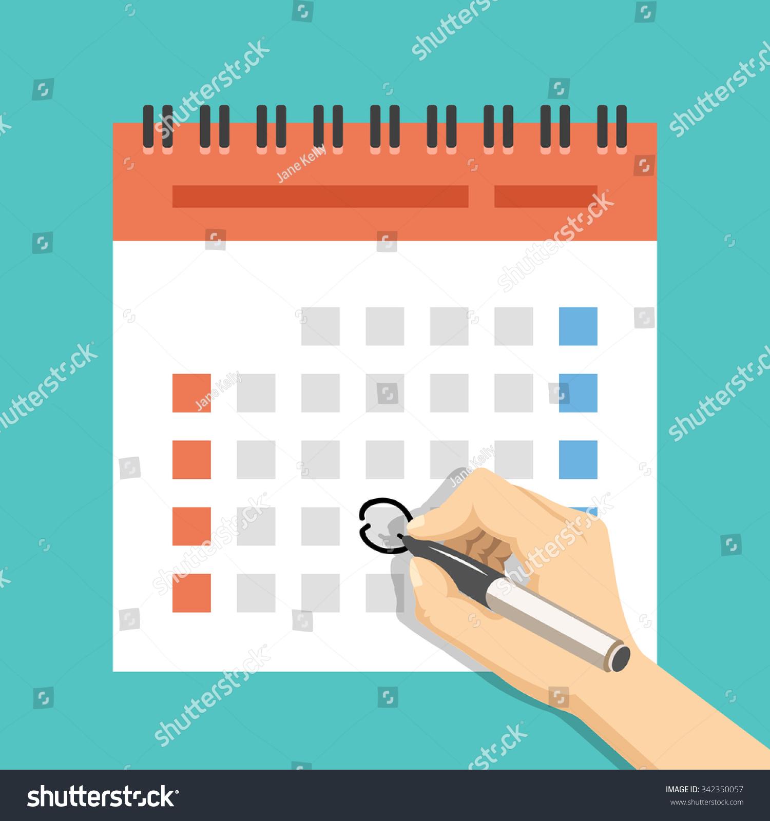 Event Calendar Illustration : Hand pen mark calendar us version stock vector