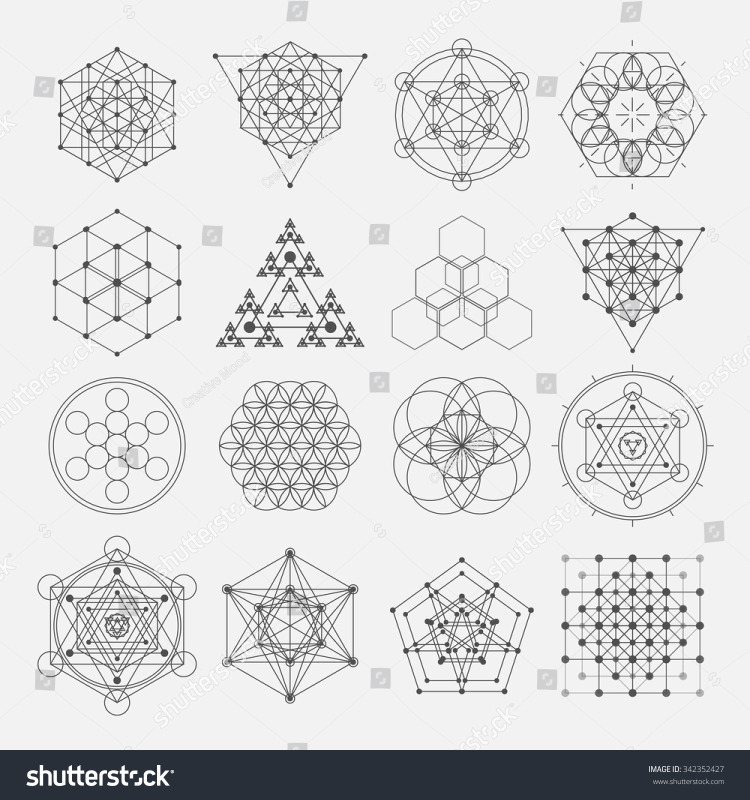 Sacred Geometry Vector Design Elements Alchemy Stock Vector ...