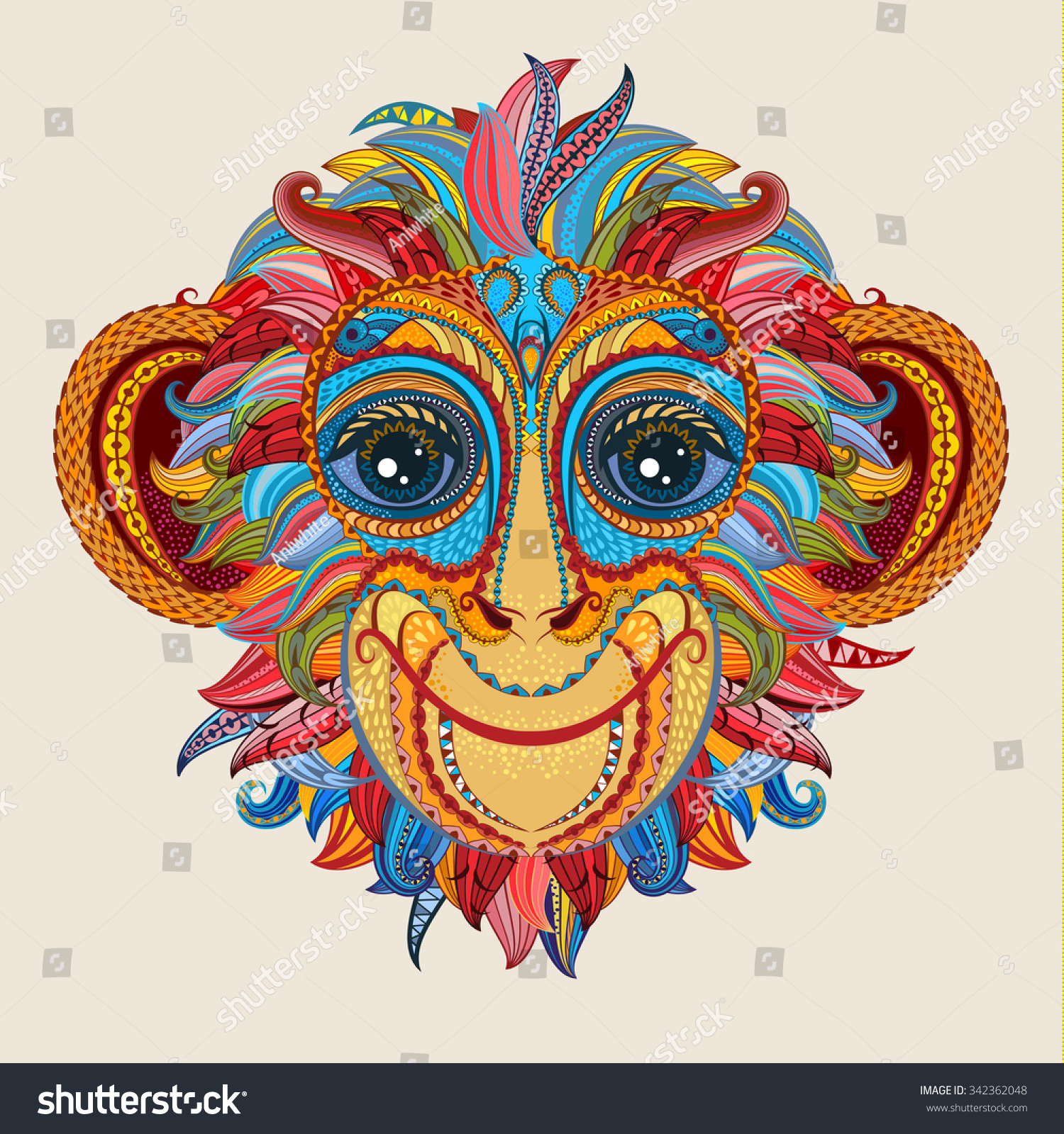 Color patterned head monkey tattoo design stock vector for Year of the monkey tattoo