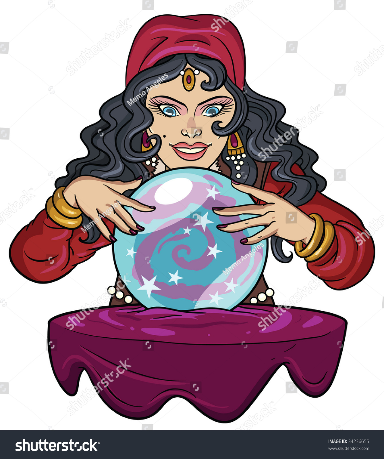 Fortune Teller Watching Crystal Ball Stock Vector 34236655 ...