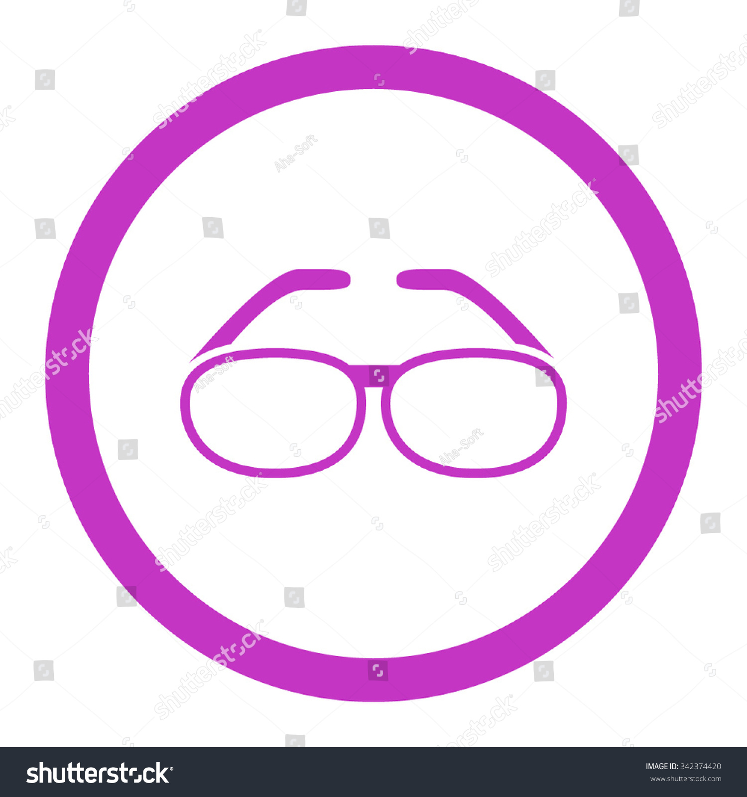 Spectacles Vector Icon Style Flat Rounded Stock Vector 342374420
