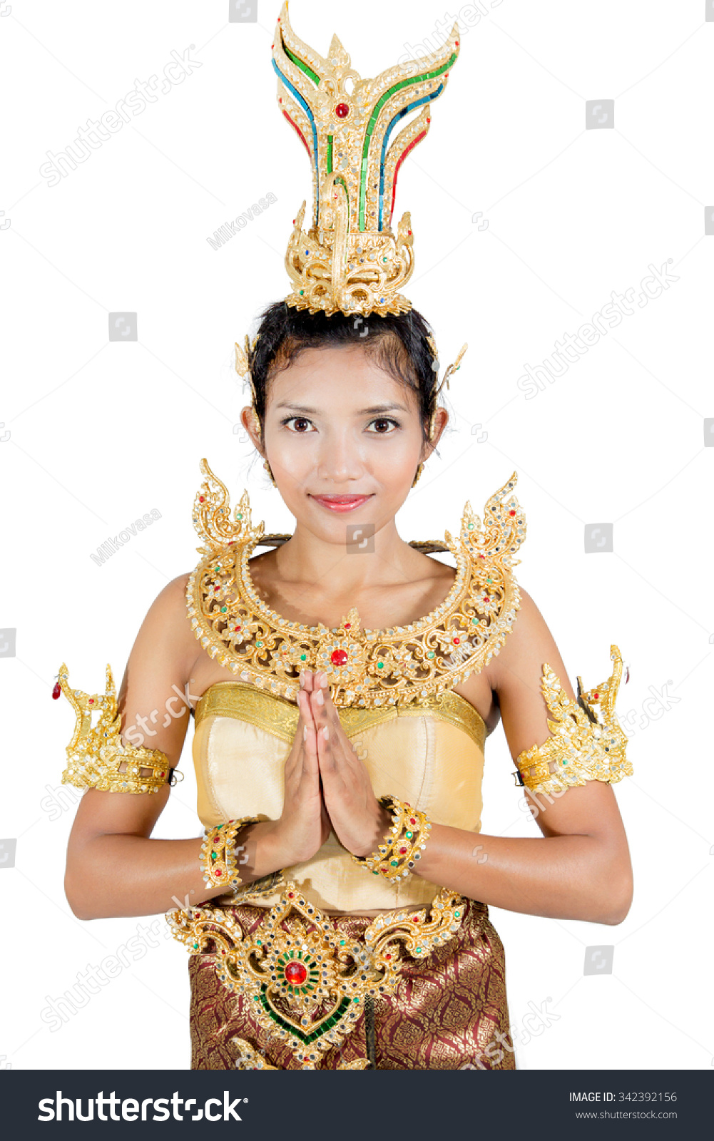 Woman traditional costume posing traditional thai stock photo woman in traditional costume posing with traditional thai greeting kristyandbryce Images