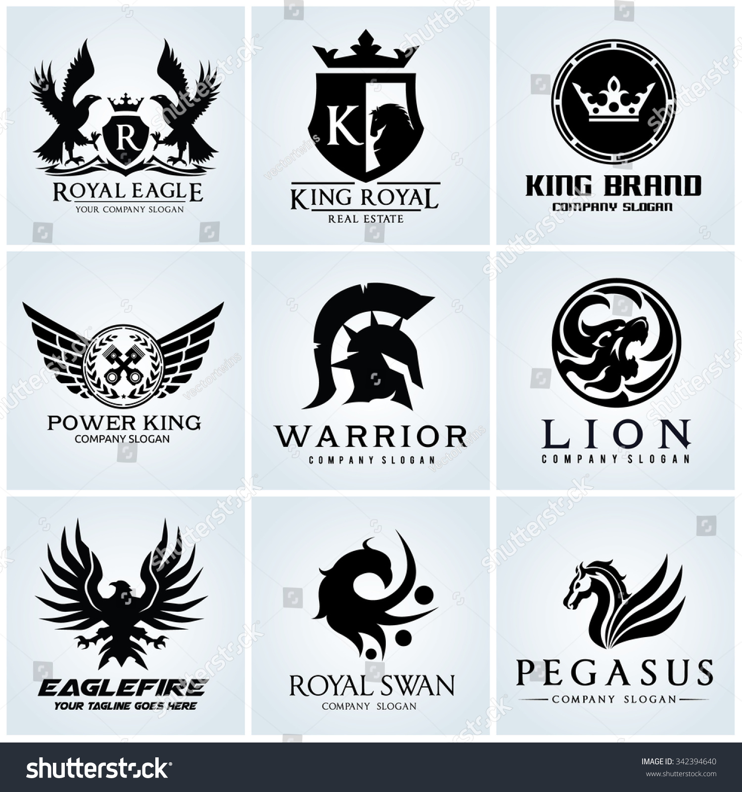 Crest logo collection set automotive eagle stock vector 342394640 crest logo collection set automotive eagle warrior pegasus lion king and royal crown gold vector template biocorpaavc Gallery