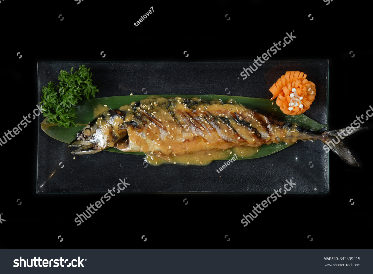 Saba fish grilled with miso sauce japanese food style for Miso sauce for fish
