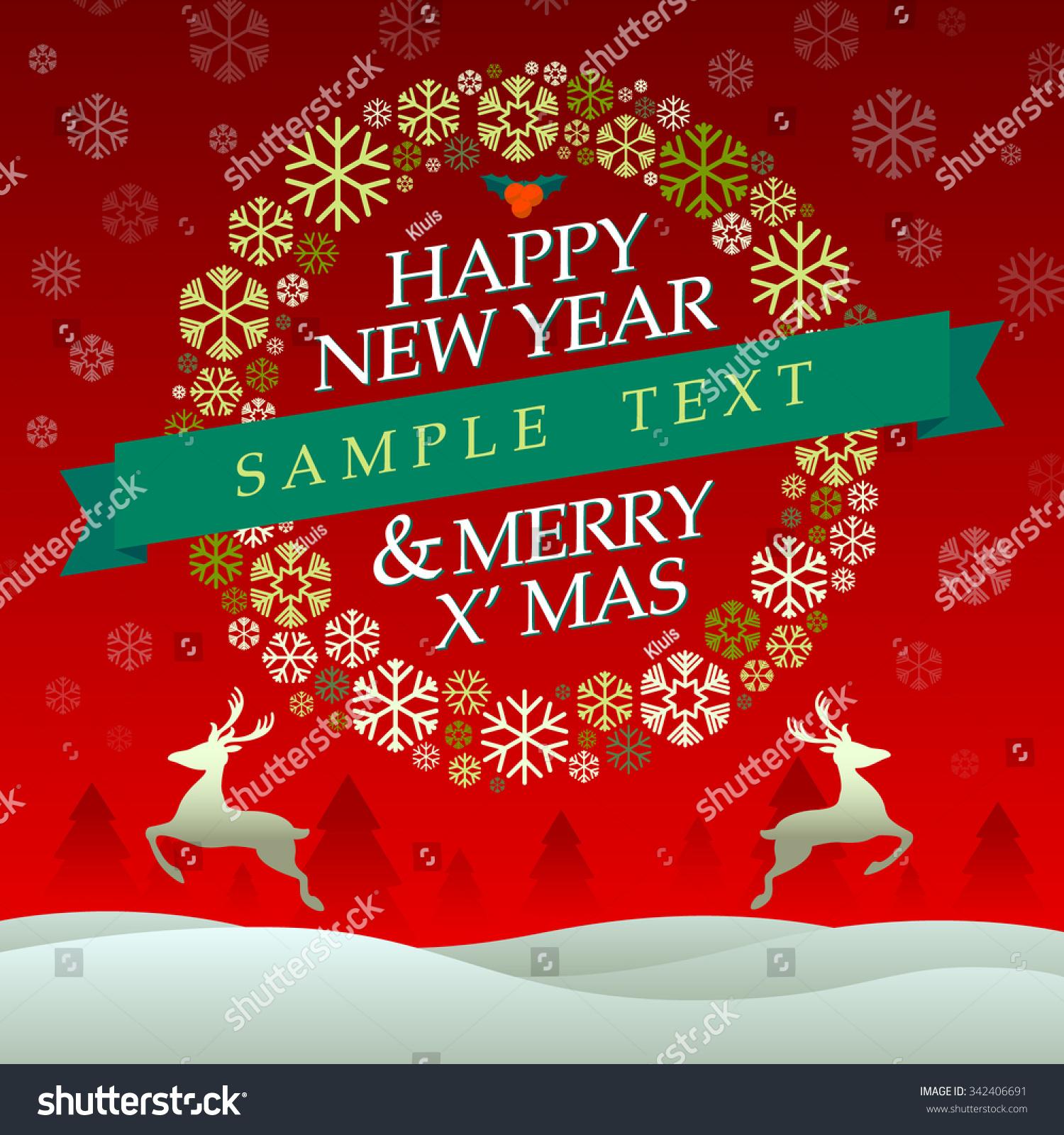happy new year merry x mas vector stock vector (royalty free