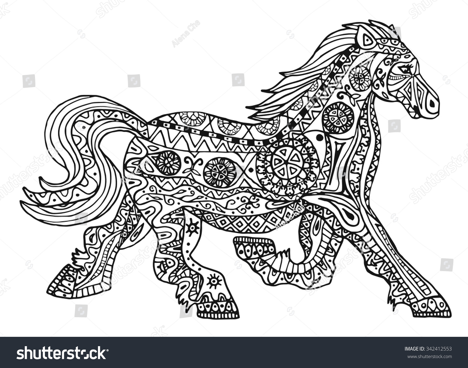 black white horse print ethnic zentangle stock vector 342412553