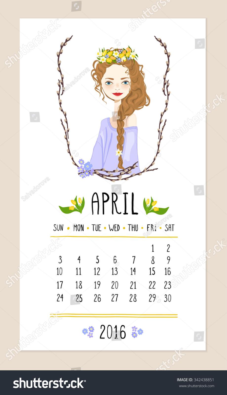 Calendar Girl April Read : April calendar cute girl wreath stock vector