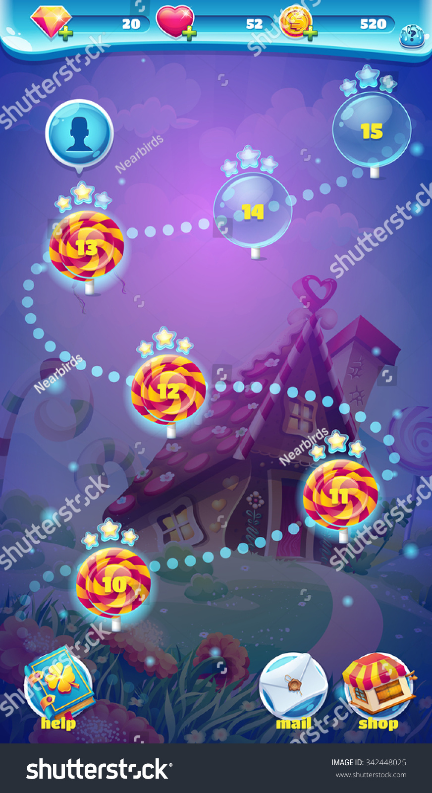 Sweet world mobile game user interface vectores en stock 342448025 sweet world mobile game user interface gui map screen video web games gumiabroncs Gallery