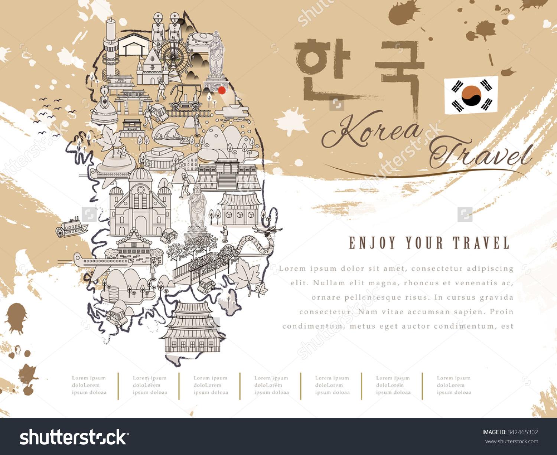 Attractive South Korea Travel Map Korea In Korean Words On Upper Right