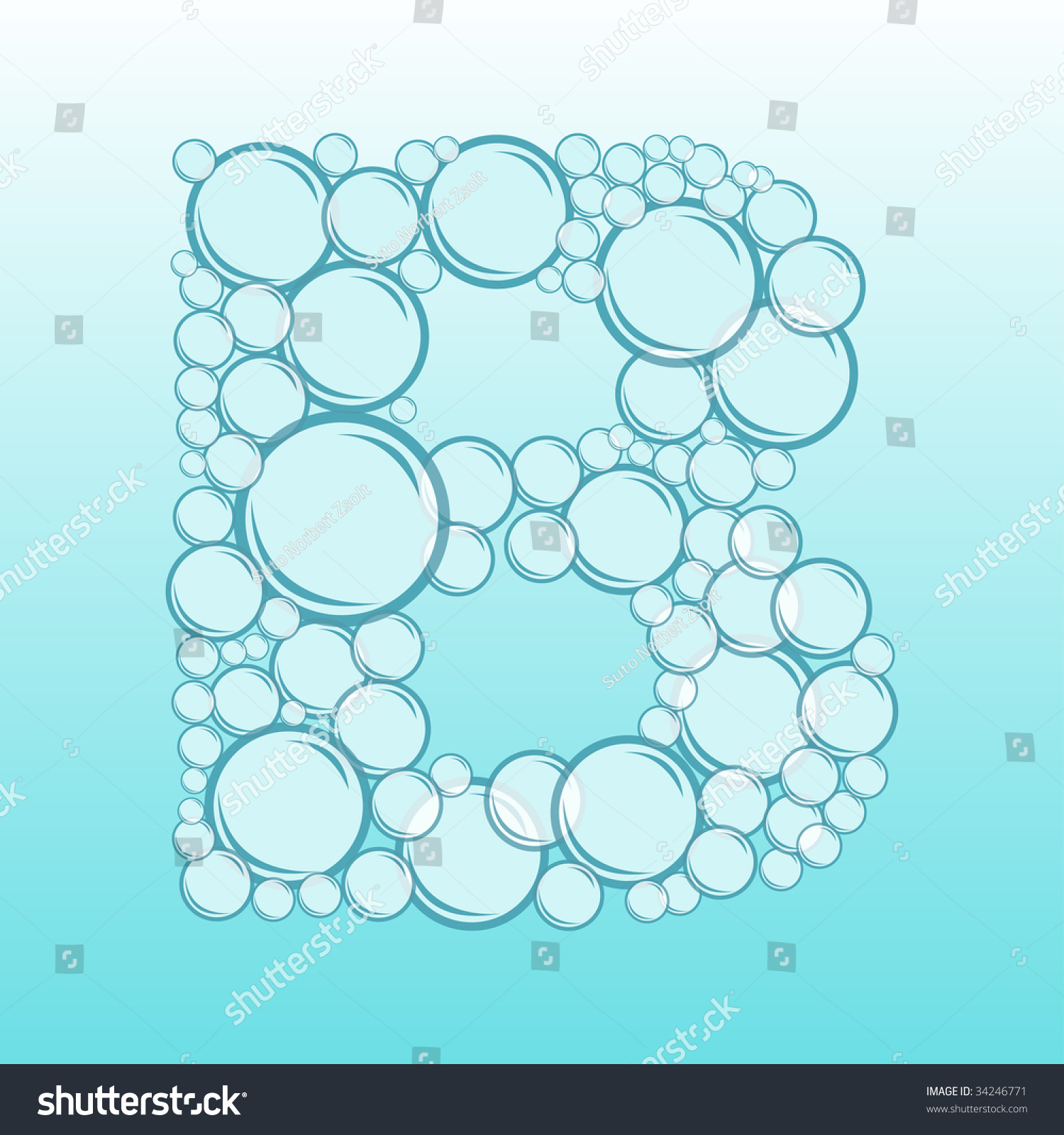abstract alphabet of water bubbles letter b