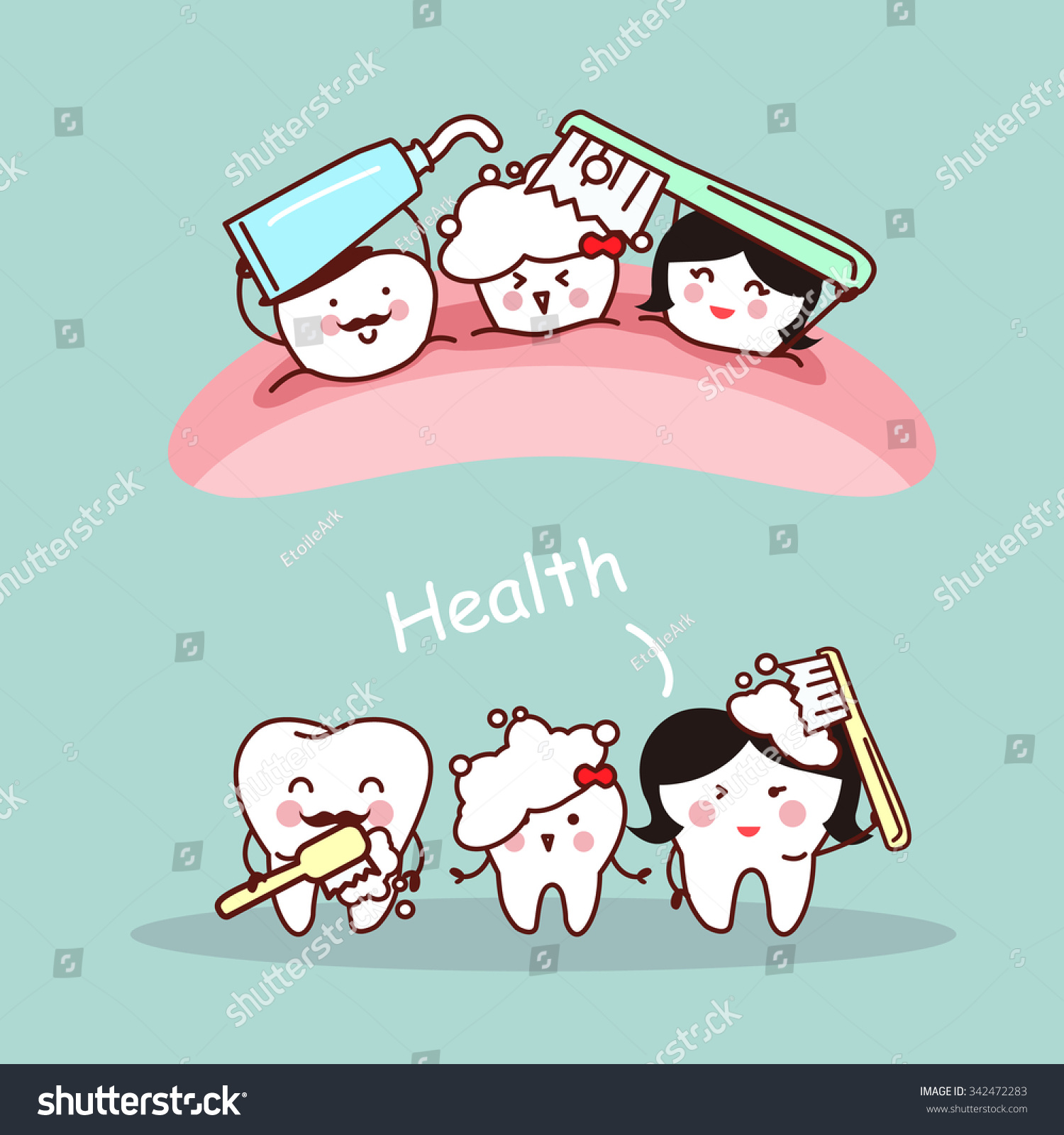 Happy tooth icon Cute tooth characters Illustration for