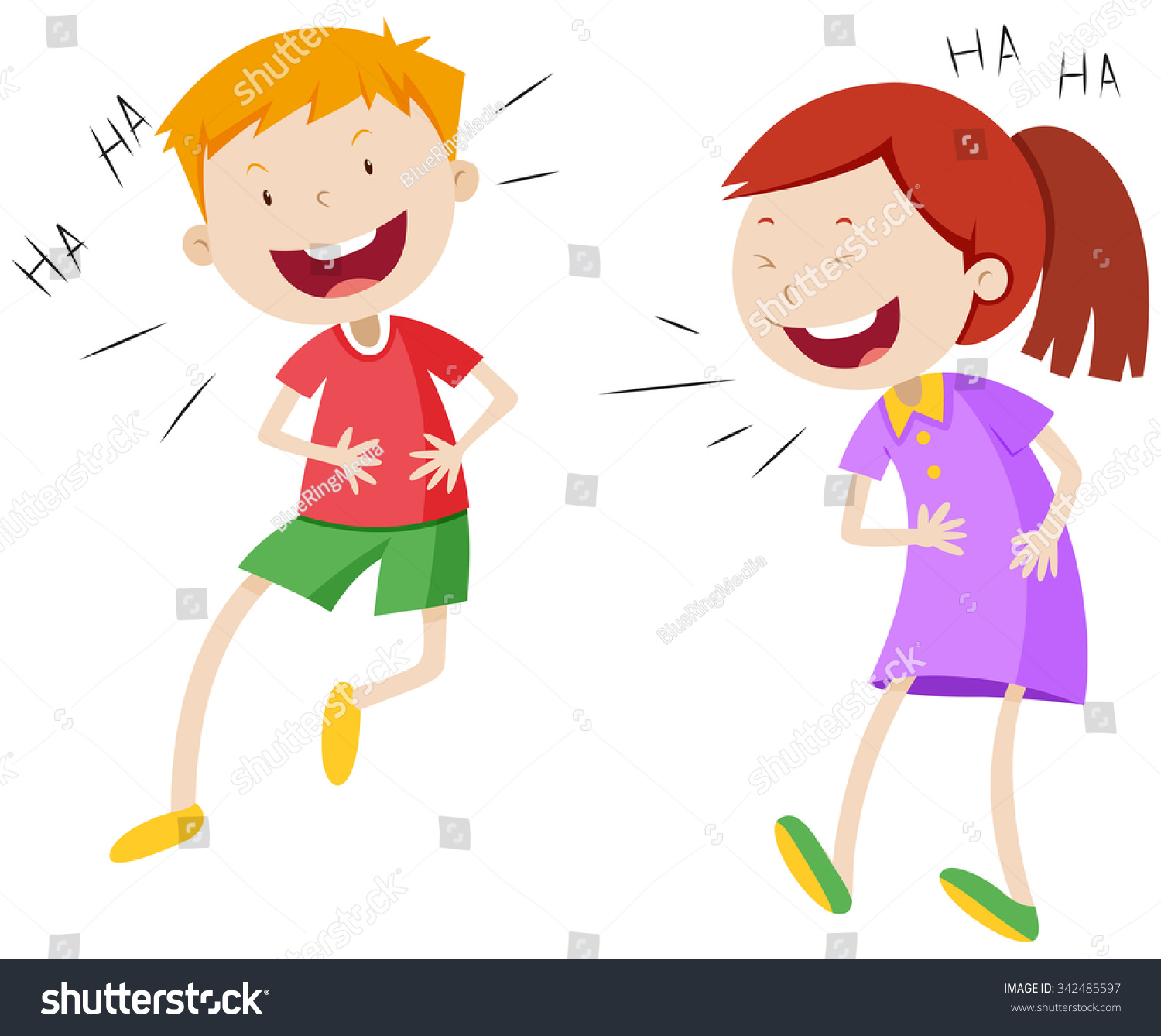 happy boy girl laughing illustration stock vector