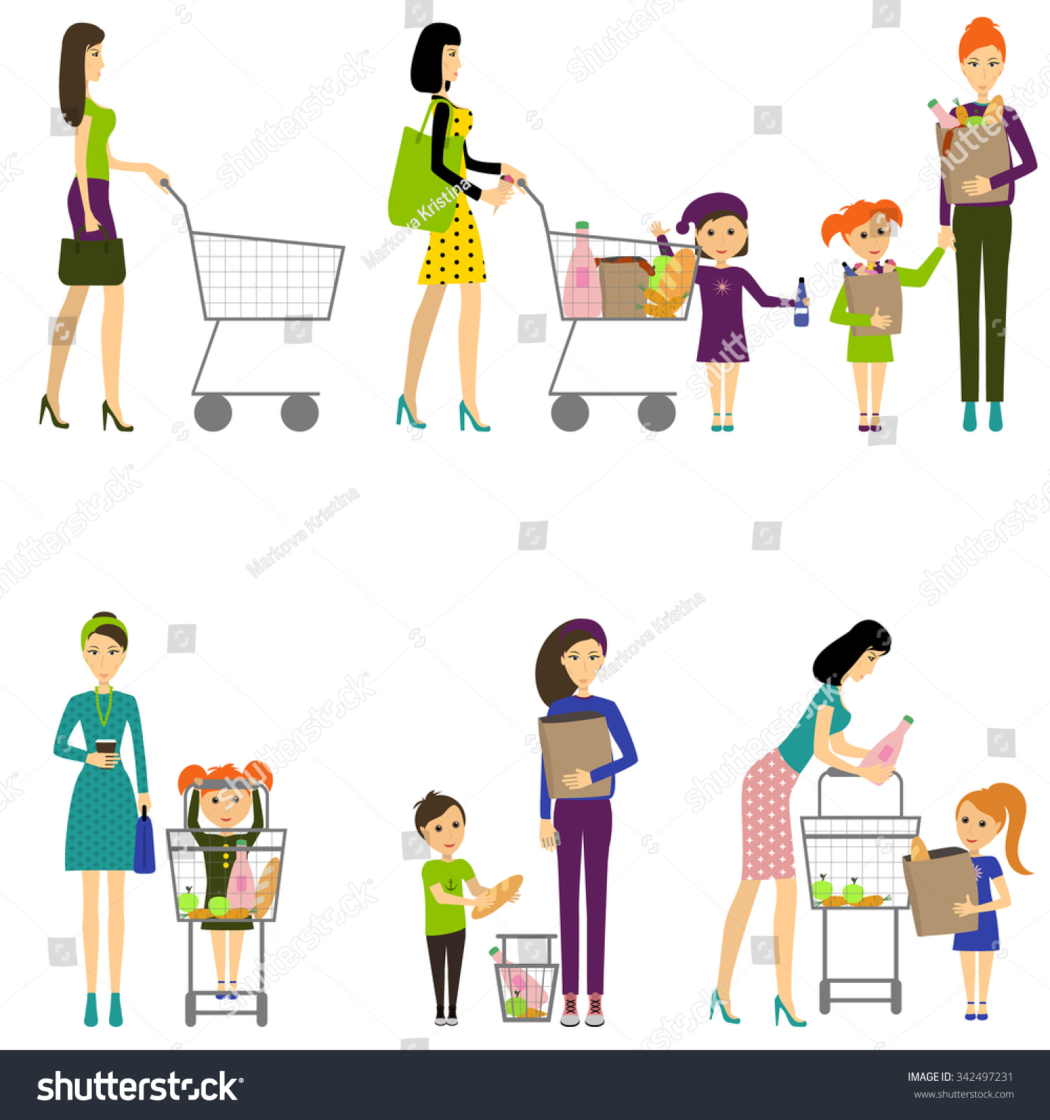 Mother With Child In A Supermarket. Vector. Shopping In ...