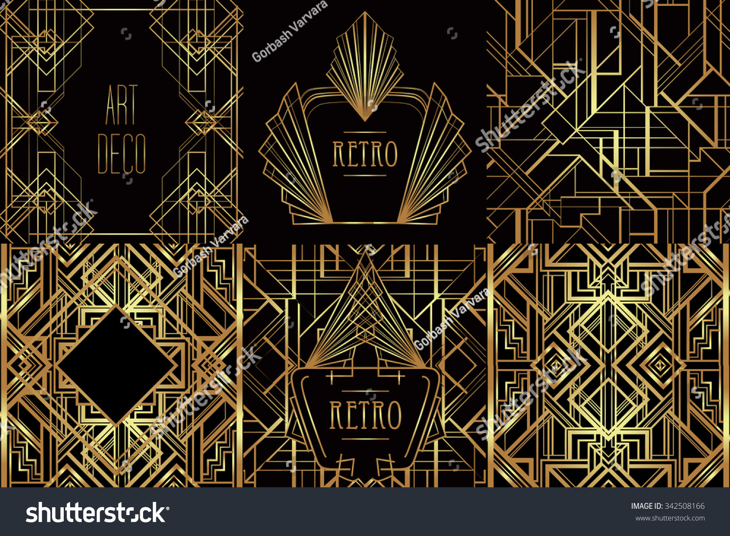 art deco vintage patterns frames retro stock vector 342508166 shutterstock. Black Bedroom Furniture Sets. Home Design Ideas