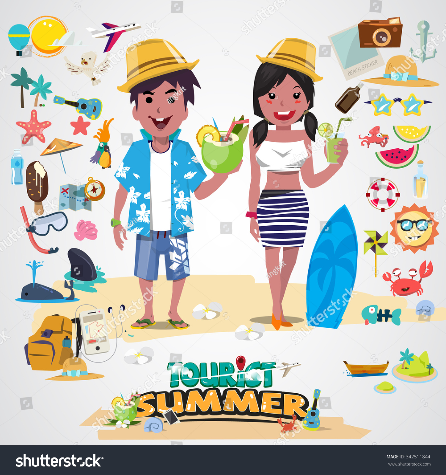 Character Design Summer Classes : Beach couple with set of cute summer icons happy