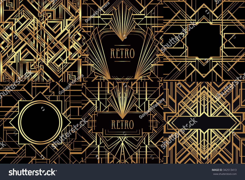 Art Deco Vintage Patterns Frames Retro Stock Vector