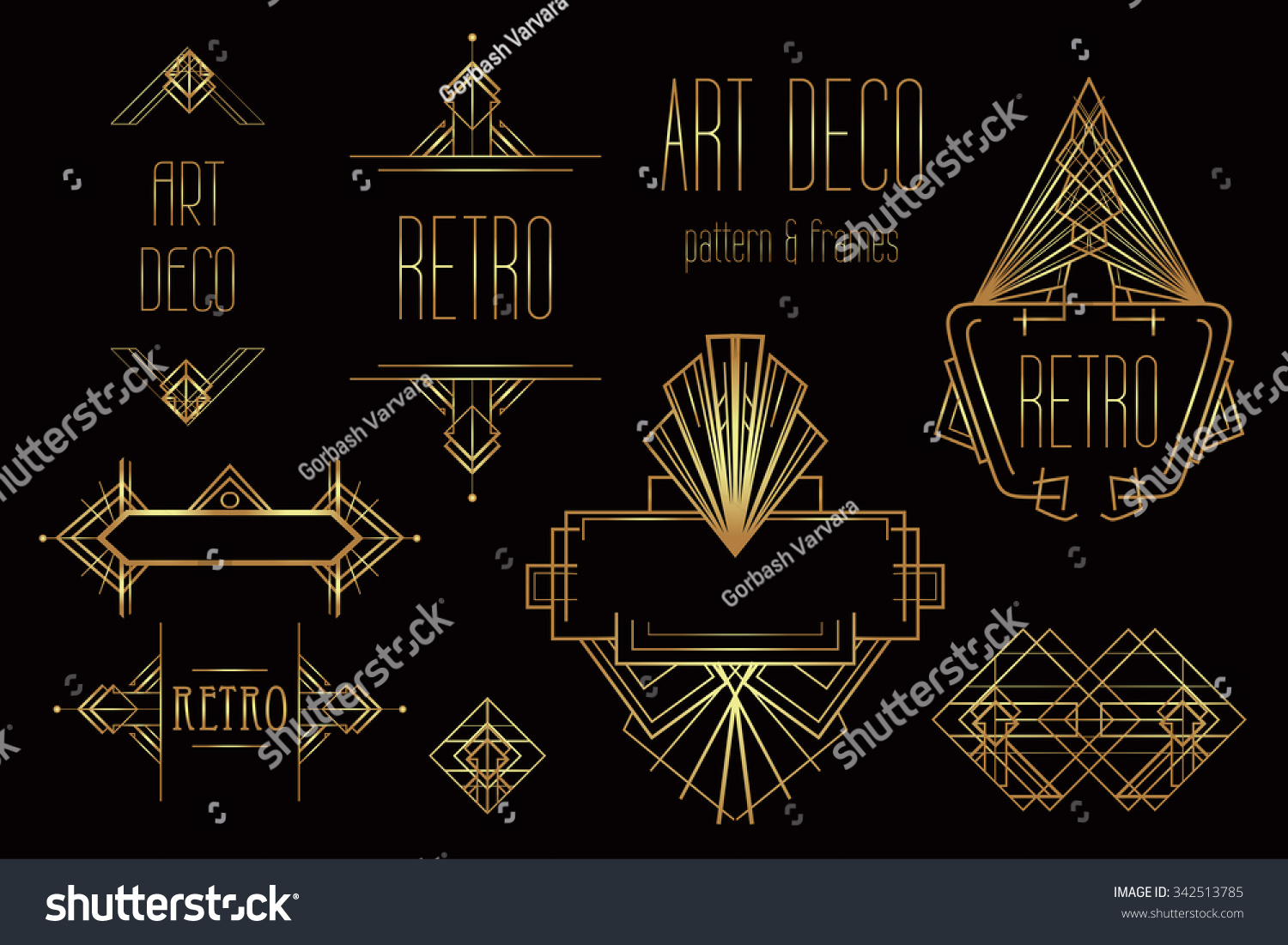 Art Deco Vintage Patterns And Design Elements Retro Party Geometric
