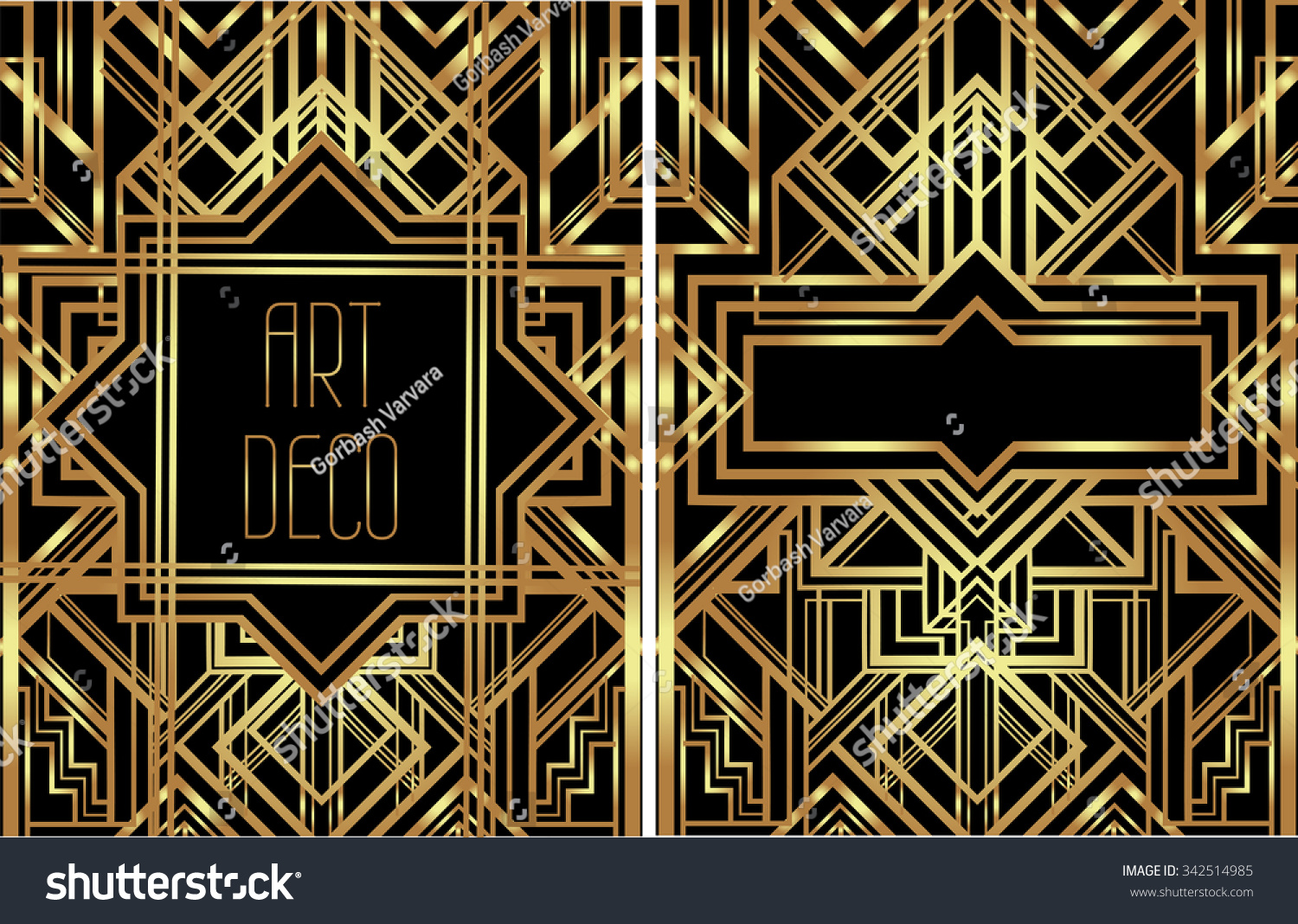 art deco vintage patterns frames retro stock vector. Black Bedroom Furniture Sets. Home Design Ideas