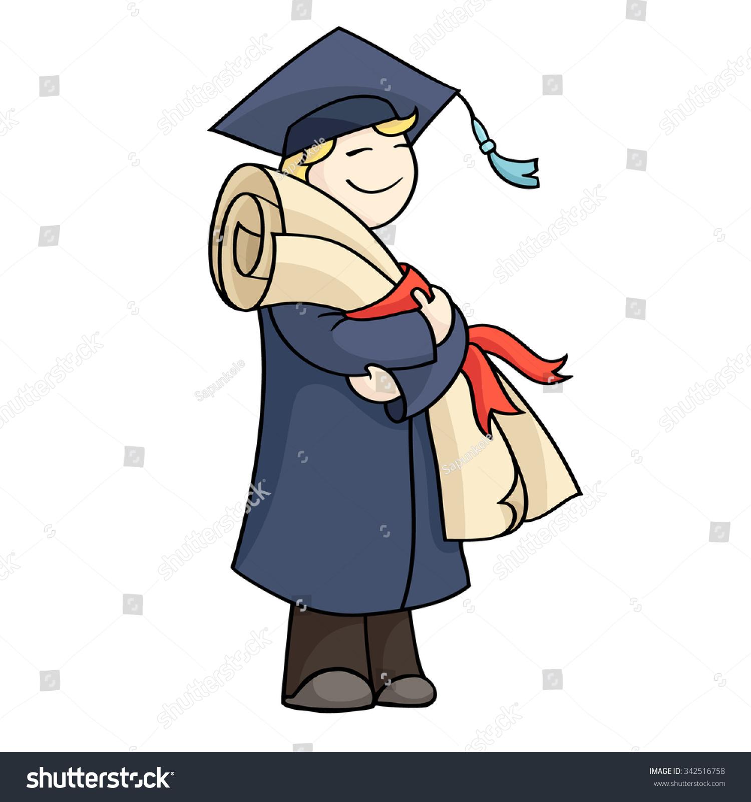 Cartoon Graduating Man Diploma Red Ribbon Stock Illustration ...