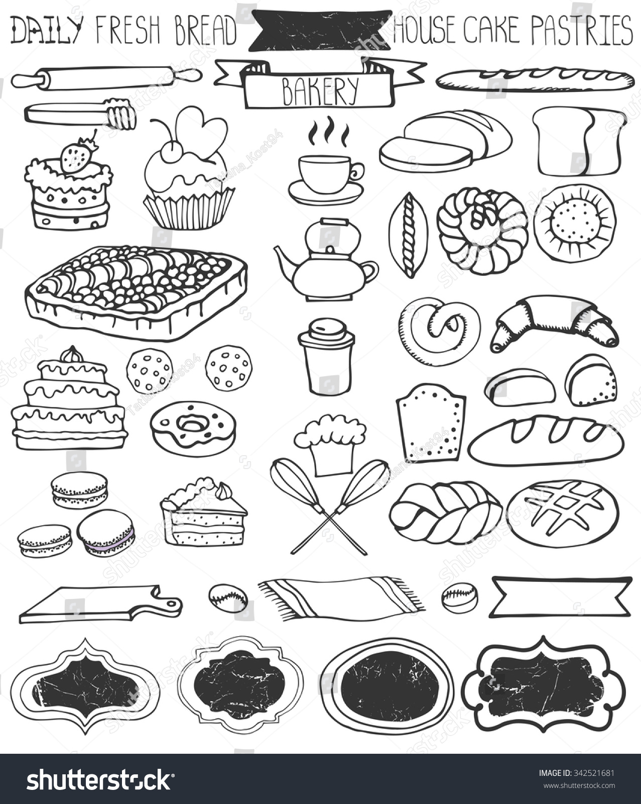 bread doodle bakery doodle vectorbreadcakes pastries icons set stock 5176