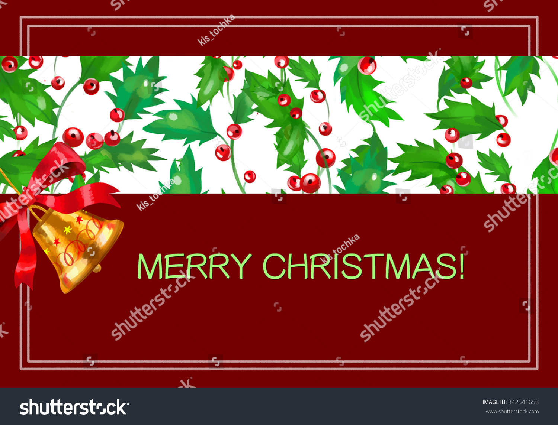 postcard merry christmas on the burgundy background stock