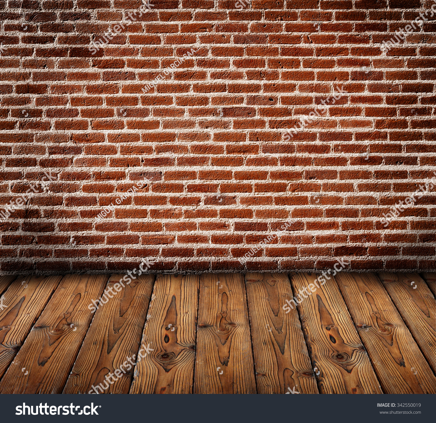 Bricks Wall With Wooden Slats Floor, Background