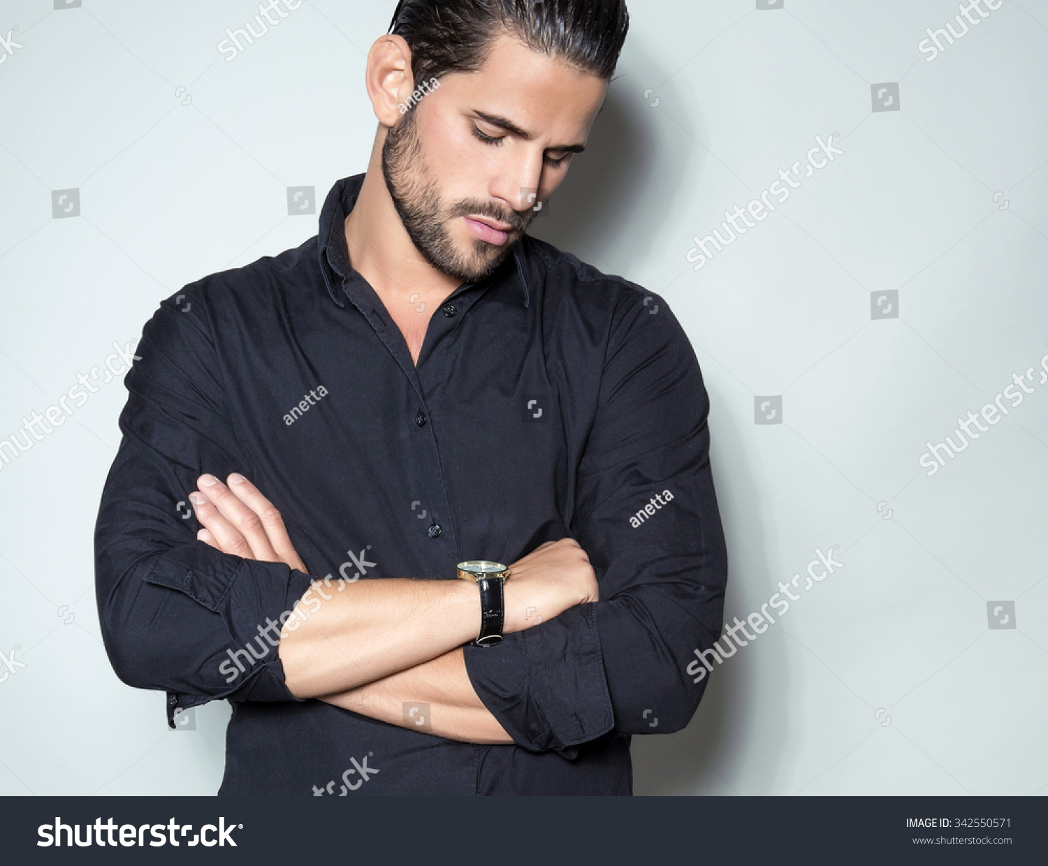 Handsome Young Man Black Dress Shirt Stock Photo 342550571 ...