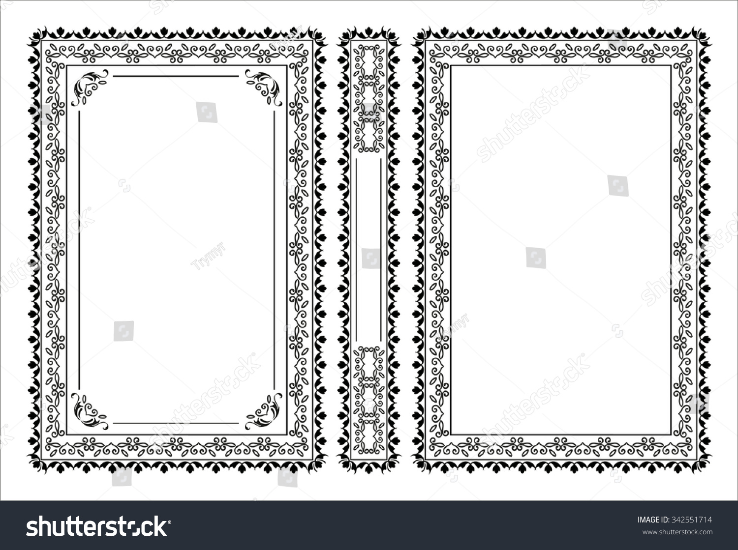 Vintage Book Cover Frame ~ Vector vintage frames and borders set victorian book covers and