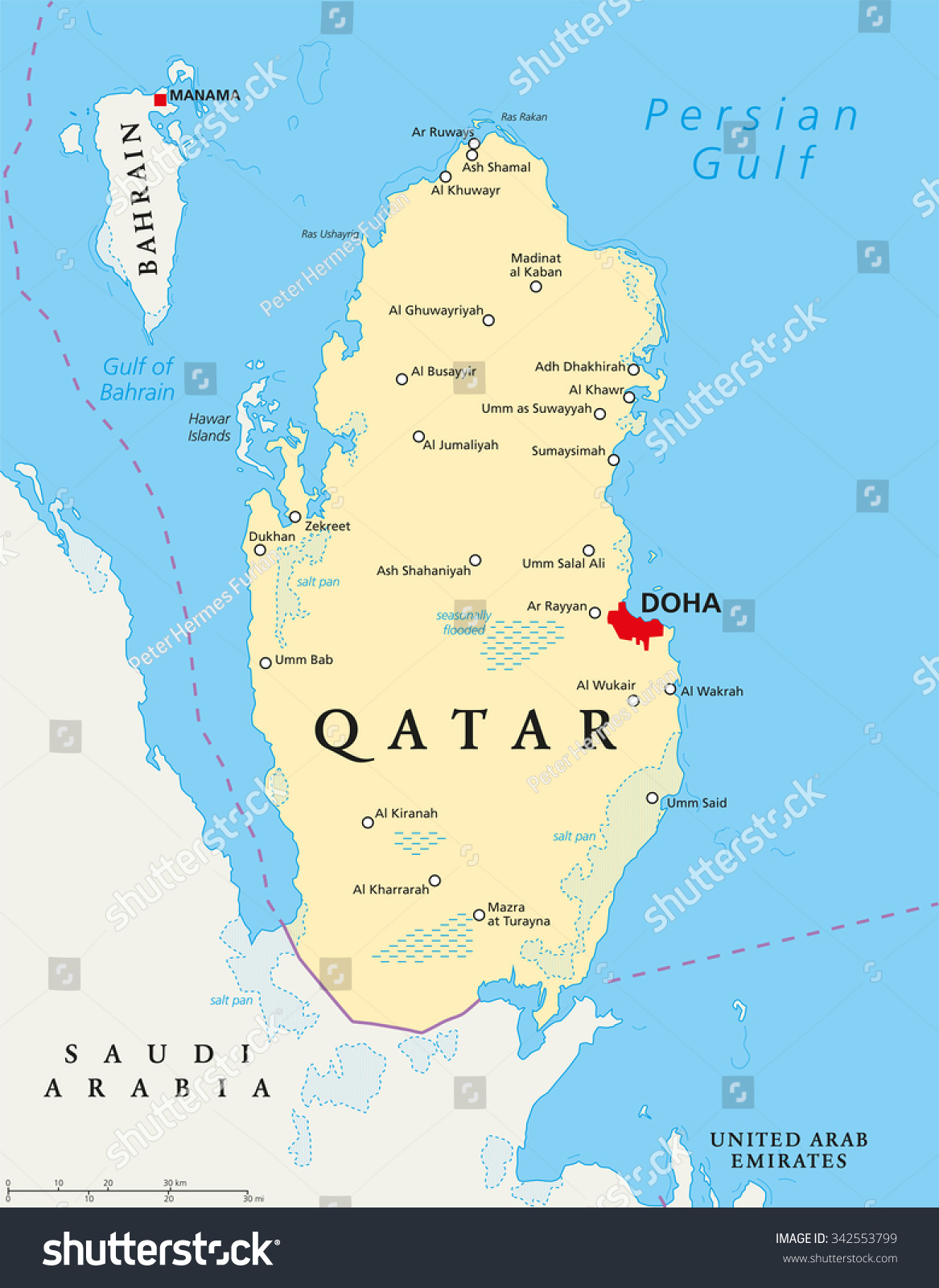 Qatar political map with capital Doha, national borders, important cities, salt pans and reefs. English labeling and scaling. Illustration.        - Vector