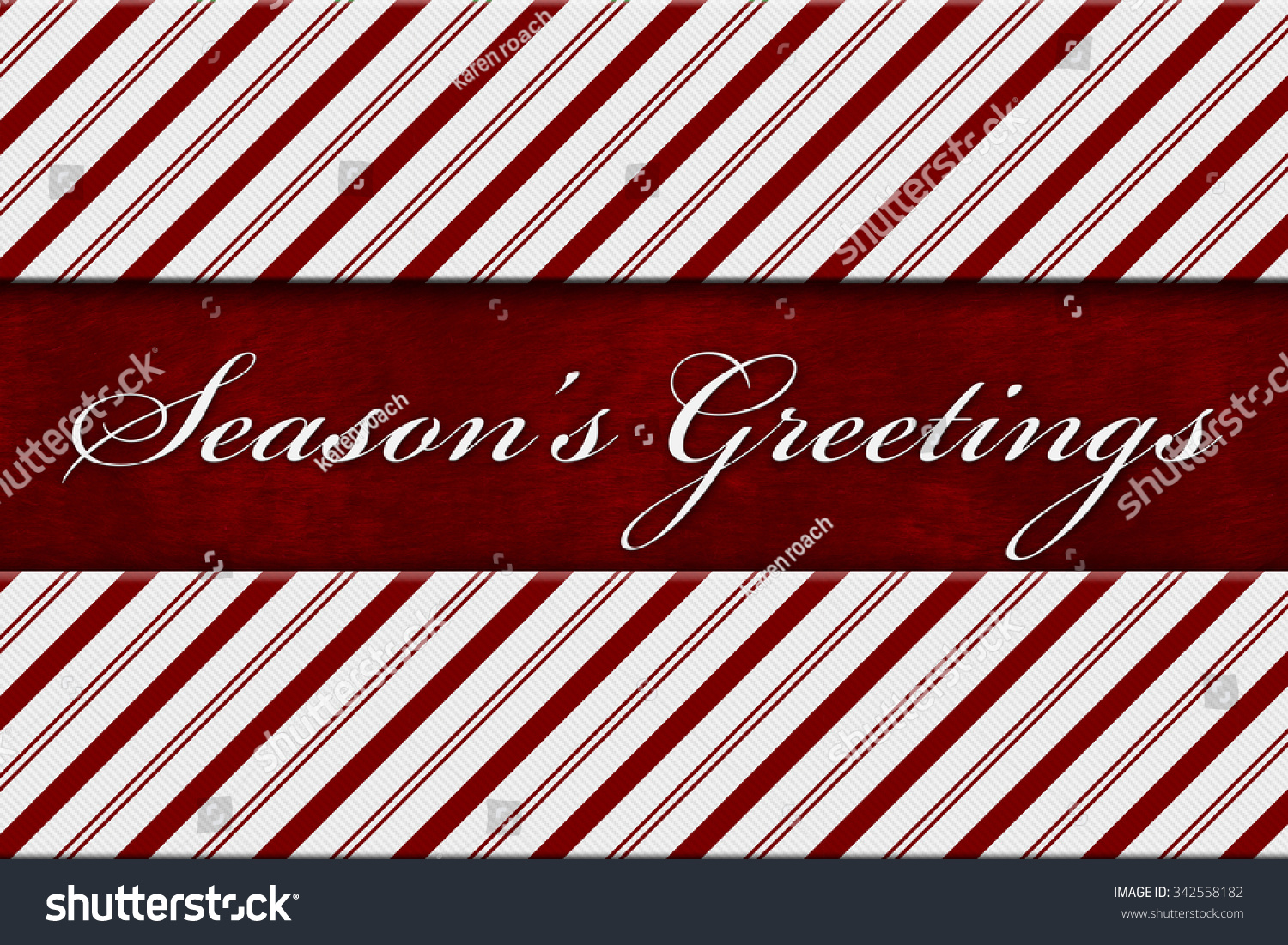 Seasons Greetings Message Red White Candy Stock Illustration