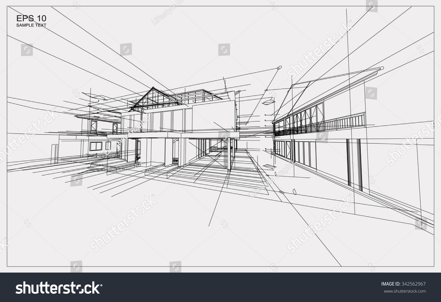 abstract 3d render building wireframe structure stock vector 342562967 shutterstock. Black Bedroom Furniture Sets. Home Design Ideas