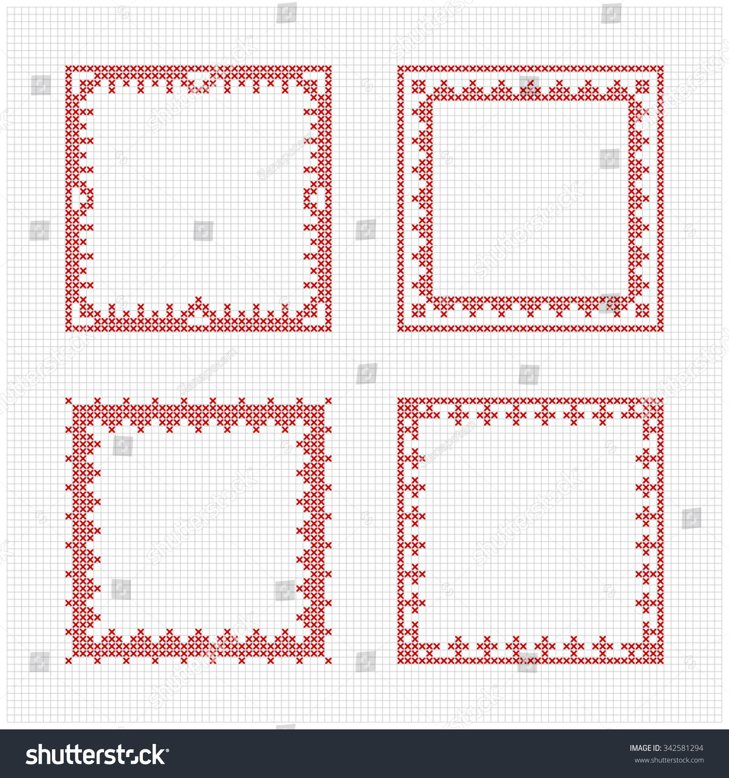 set of four square frames cross stitch pattern redwork ornament for embroidery cross