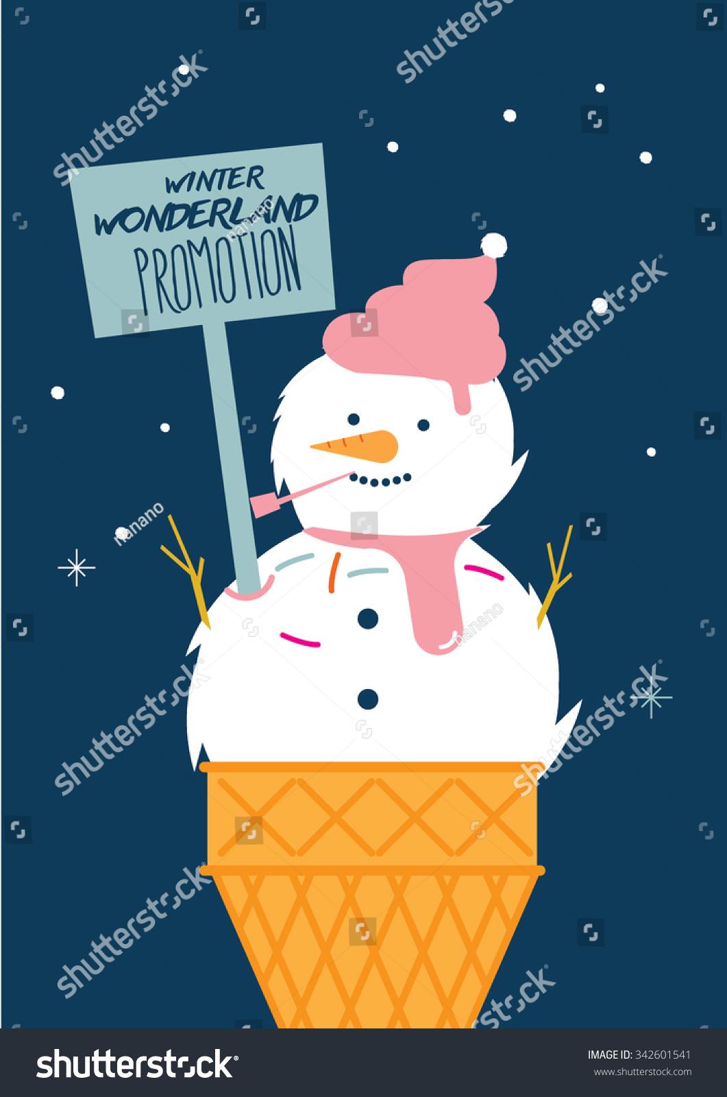winter season promotion snowman ice cream stock vector 342601541